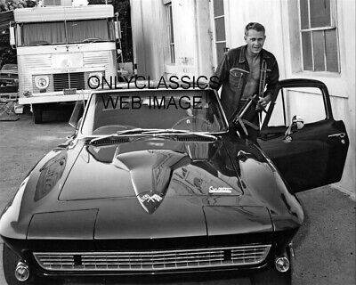 Steve Mcqueen All Smiles Gets In His Chevy Corvette 427 Big Block Car 8X10 Photo