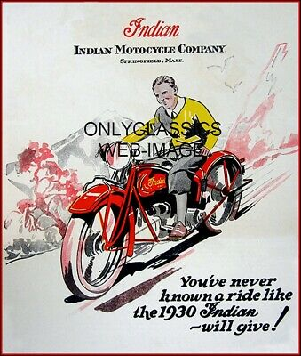 1930 Indian Motorcycle Advertising Poster A Ride Like None Other Vintage Graphic