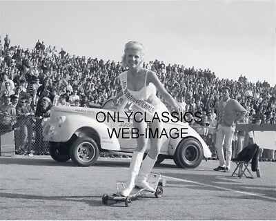 Hot Rod Drag Racing Sexy Girl Miss Winternationals On Motorized Skateboard Photo