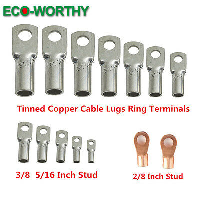 Tinned Copper Cable Lugs Ring Terminals Various AWG Sizes Battery Wire Connector
