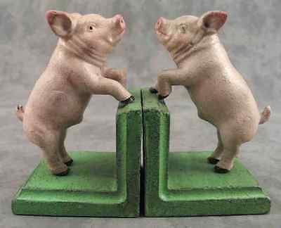 PAIR OF PINK COUNTRY PIG CAST IRON BOOKENDS Book Ends