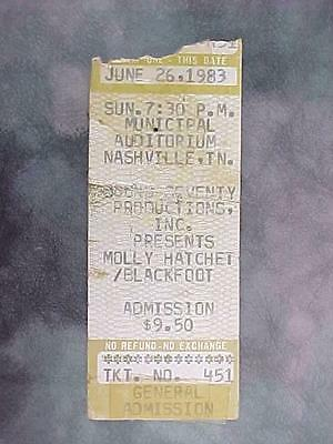 Molly Hatchet Blackfoot 1983 Concert Ticket Stub / Muni Auditorium Nashville Tn