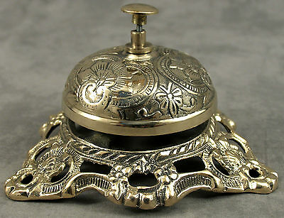 Solid Brass Ornate Hotel Front Desk Bell Sales Service Counter Bell