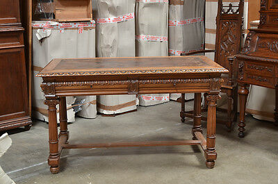 1110037 : Antique French Renaissance Writing Desk w/ Leather Top
