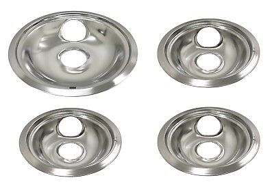 Range Stove Chrome Drip Pans for CP2 Set: (3) 6 Inch Bowls & (1) 8 Inch Bowl