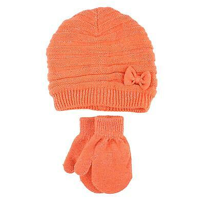 2pc Soft Baby Girls Kids Age 2-4 Knit Cute Bow Sparkle Beanie Hat Gloves Coral
