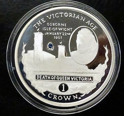 2001 Gibraltar 1 CROWN Death of Queen Victoria w/ Sapphire  Proof like