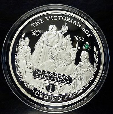 2001 Gibraltar 1 CROWN Coronation of Queen Victoria w/ EMERALD   Proof like