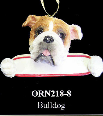 """BULLDOG Christmas Ornament """"Santa's Pals"""" With Personalized Name Plate #8"""