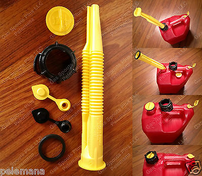 BLITZ Fix Your GAS CAN KIT SPOUT & PARTS Screw Cap Collar Stopper Yellow Bk Vent