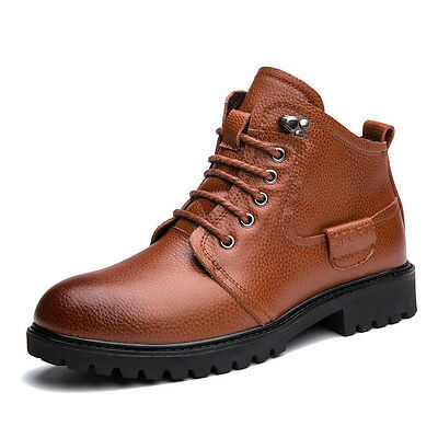 Men Real Leather Ankle Boots Hiking Combat Martin Army Shoes Side Zipper Lace Up