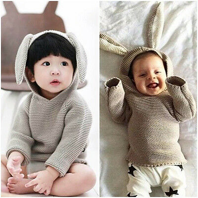 Toddler baby girl sweater Boy Tops Long Sleeve Outwear point with rabbit ear cap