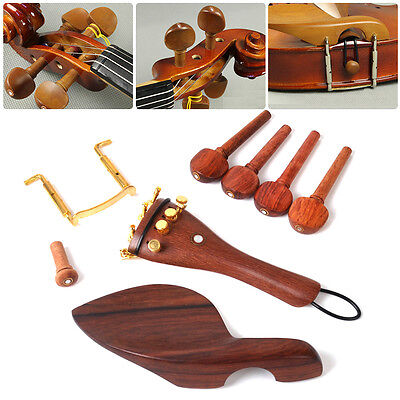 1 set Art Rosewood Violin 4/4 Fittings Chinrest Pegs Tailpiece Tuners Endpin