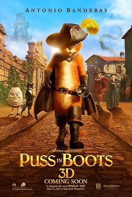 Puss In Boots Version C Double Sided Original Movie Poster 27x40 inches