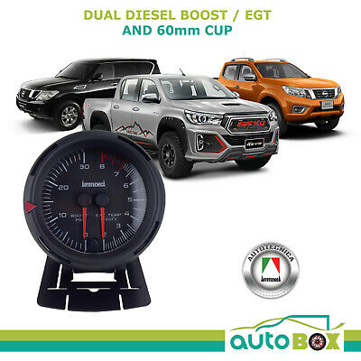 Diesel 0-30 Boost and 800 Degree EGT Pyro Exhaust Temp Dual Gauge and 60mm Cup