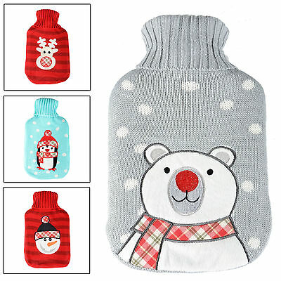 Hot Water Bottle With Knitted Cover Winter Warmer Thermotherapy - Gift Idea!