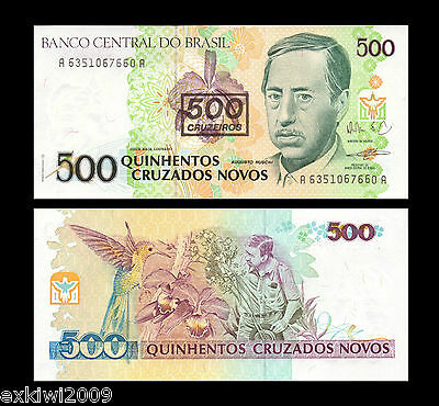 Brazil 500 Cruzeiros 1990 P-226 Mint UNC Uncirculated Banknotes