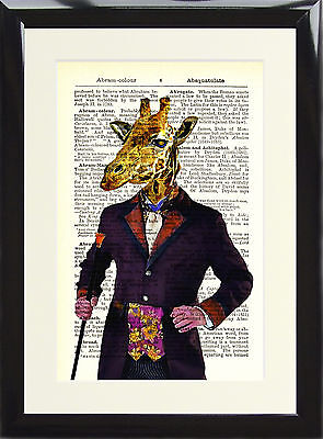Art Print Antique Dictionary Page Vintage Giraffe Victorian Gent Animal Picture