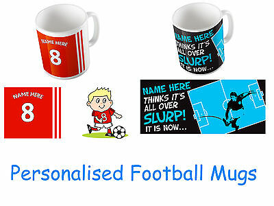Personalised Football Mug Add Your Name. Quality Custom Gift