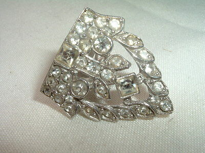 Vintage Art Deco White Rhinestone Fur Or Dress Clip In Gift Box