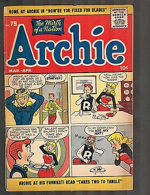 """Archie Comics #79 ~~ 1956 Golden Age """"The Mirth of a Nation"""" (4.5) WH"""