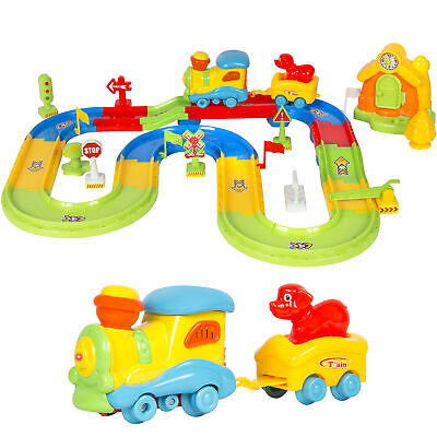 Kids Toy Electric Train Set w/ Lights & Sound Colorful Tracks Battery Operated