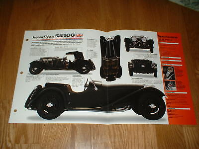 ★★1937 Jaguar Ss100 Swallow Sidecar Spec Sheet Brochure Poster Photo 35 36 39 Ss