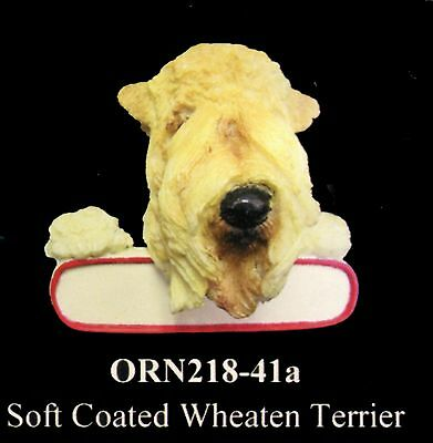 """Wheaten Terrier Christmas Ornament """"Santa's Pals"""" Personalized Name Plate #41a"""