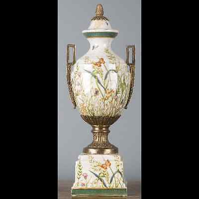NEW PORCELAIN AND BRONZE ORMOLU FLORAL URN wild field butterfly