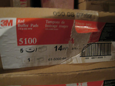 1-1/2X 3M  5100 RED BUFFER  Pads 14  inch 1-1/2 Case of 5 each =7 pads