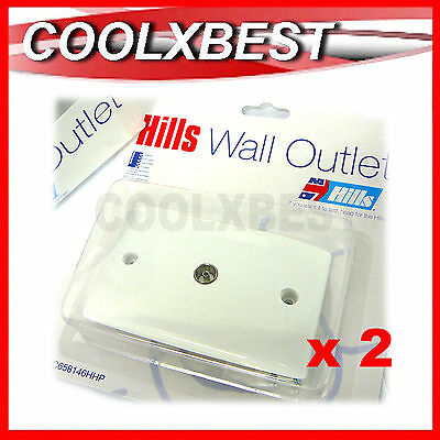 2 X New Hills Australia Coaxial Tv Aerial Antenna Rf Wall Plate Socket Outlet