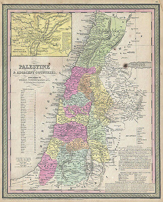 Mitchell Map of Palestine Israel and the Holy Land Vintage Fine Art Print