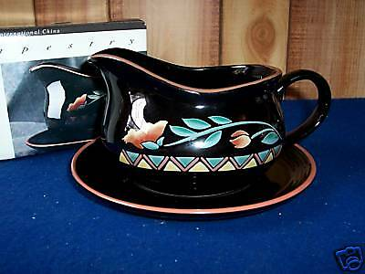 International China Tapestry Gravy Boat with Underplate Bowl Tray Black in Box
