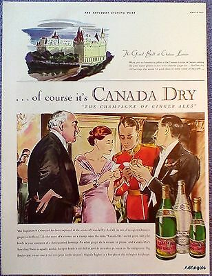 1935 Canada Dry Ginger Ale Grand Ball Chateau Laurier Ottawa Military Peers ad