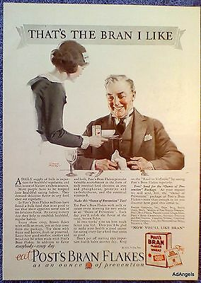 1927 Post Bran Flakes Maid Serve Older Man The Bran I Like Slaliley ad