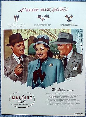 1946 Mallory Hats The Option Men Lady Sidewalk Mallory Match Dress Up Cordrey ad