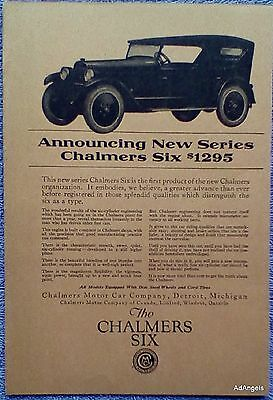 1922 Chalmers Six Series First Product New Chalmers Organization ad