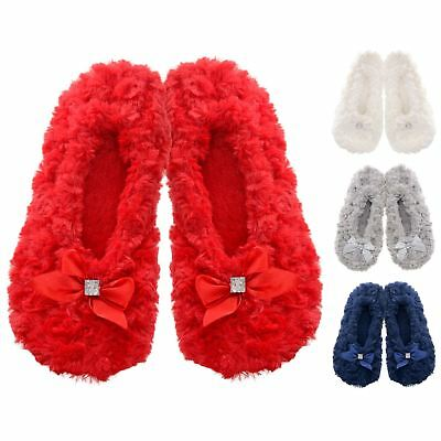 Ladies Soft Faux Fur Ballerina Ballet Slippers Bows Slip On PU Leather Sole
