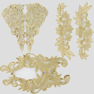 1 Pair Polyester Crochet Flowers Gold Lace Trim Sewing Costume Applique Crafts