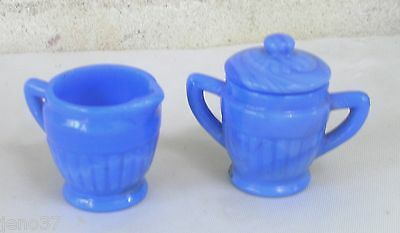 Child's Antique Blue Glass Sugar and Creamer~Pretty,and  Sweet w/Swirls in Glass
