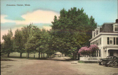 Princeton Center MA Street View & Bldg Hand Colored Postcard