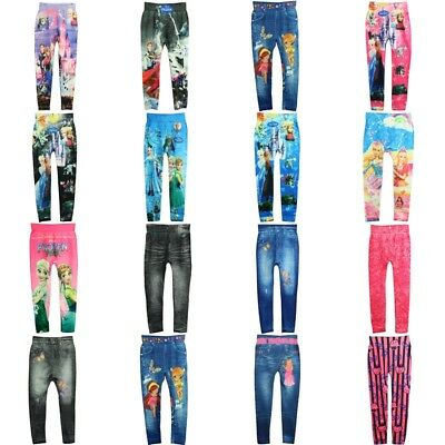 Cute Girls' Colorful Skinny Leggings Casual Kid's Stretchy Pants Trousers 4-10Y