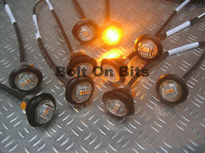 10 Button 12v Amber LED CLEAR Marker light/lamps side Recovery/bed/Van/orange