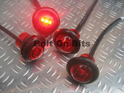 4 Button 12v Red LED Marker light/lamps rear/door/warning/roof/bar/bumper/van