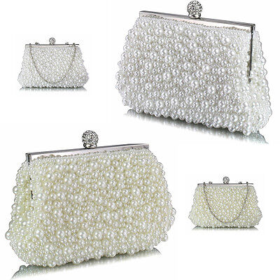 Bridal Wedding Vintage Style Ivory / White Pearl Bead Evening Clutch Bag