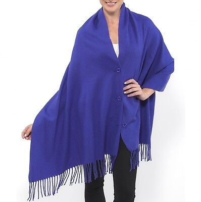 Alpine Swiss Women's Pashmina Button Up Shawl Cape Poncho Blanket Scarf Wrap
