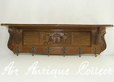 Antique Style Wall Coat Rack Wood Oak Wardrobe Carving Old Towel