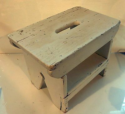 Antique / Vintage White Painted Wooden Rectangular Stool with Slot Handle