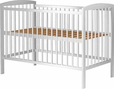 White Solid Wood Baby Newborn Adjustable 3 High Levels Cot Bed Crib Mattress