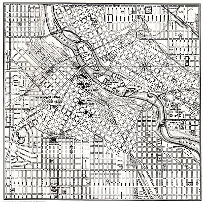 1942 MINNEAPOLIS Map Vintage Black and White Map Gallery Wall Art 2180